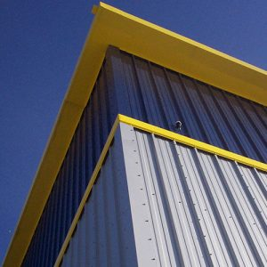 Belmont Roofing Wall Cladding Refurbishment Blue and Yellow