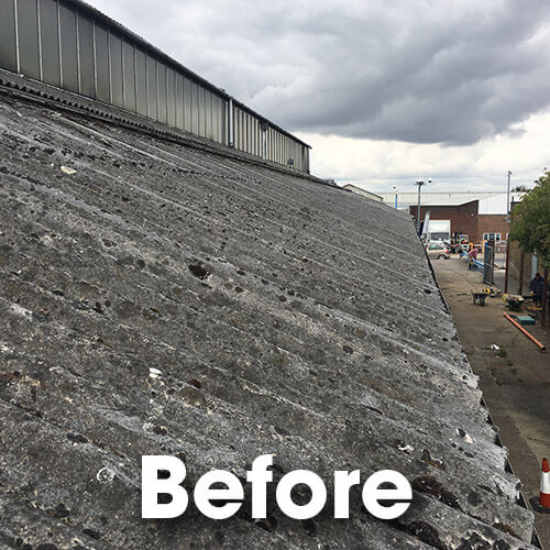 old asbestos roof and glazing system